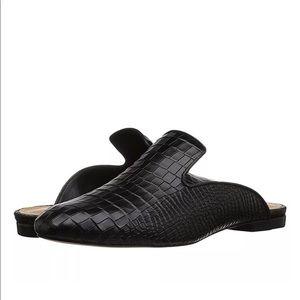 Schutz Avamel Crocodile Mules Black Slip On